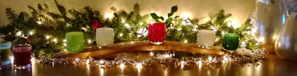 Glassybaby Christmas Mantel