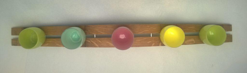 wine barrel glassybaby holder with steel pins