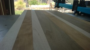 Planed edge grain board